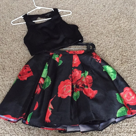 1964fa7778d0 Sequin Hearts Dresses | Black And Red Rose Two Piece | Poshmark